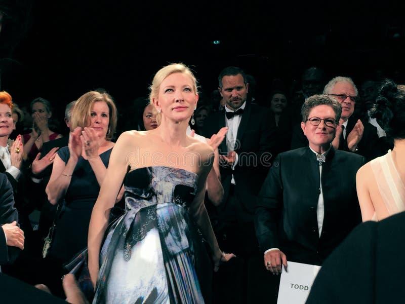 Het eerste onderzoek van Cate Blanchett After van Carol in Cannes stock fotografie