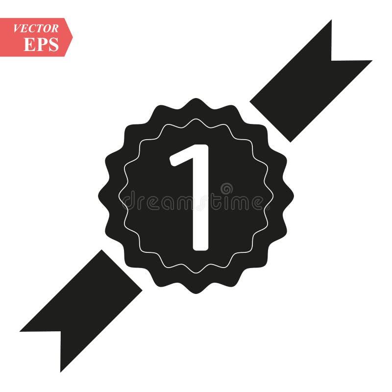 Het eerste pictogram van de plaatstoekenning Prijs voor winnaarsymbool Nummer één… vector illustratie