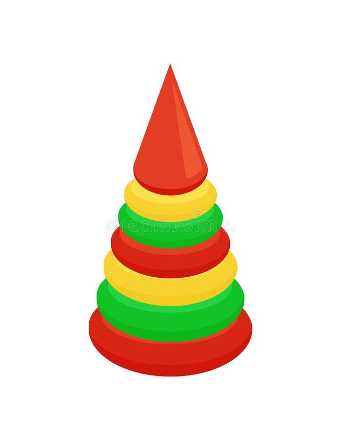 Het Eerste Stuk speelgoed van de kinderens Piramide voor de Vector van het Babyspel royalty-vrije illustratie