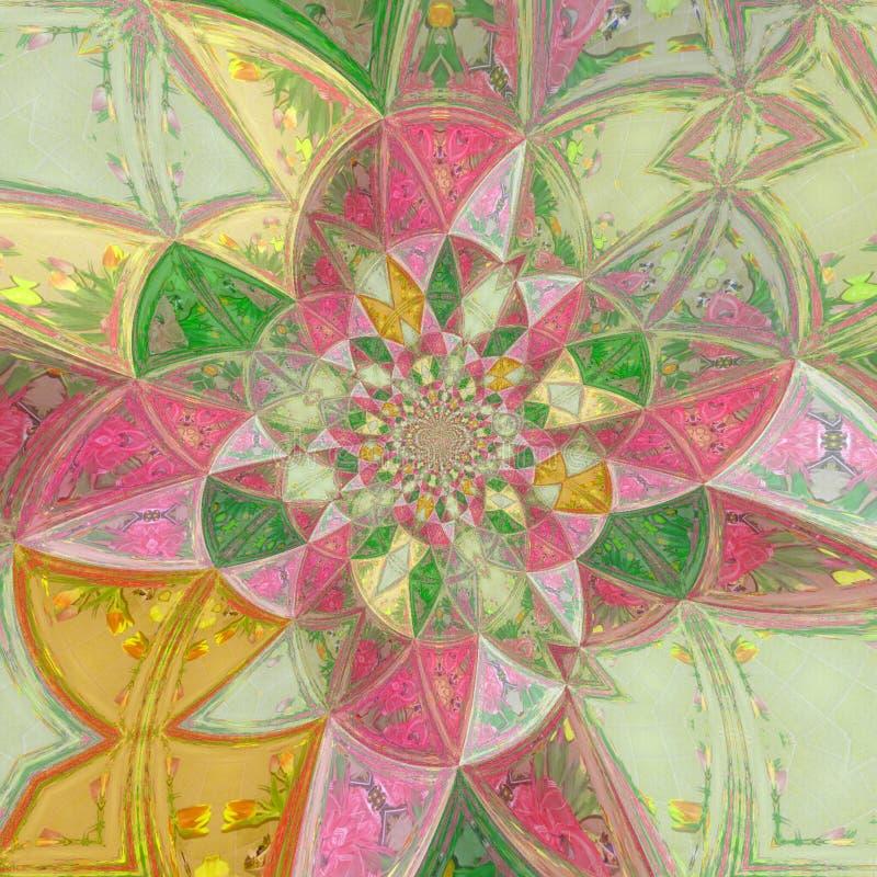 Het effect van het de bloemkwarts van het kleurenglas gebrandschilderd glas vector illustratie