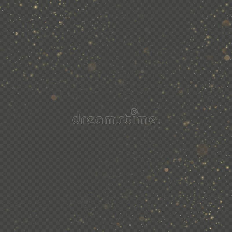 Het effect van de deeltjesbekleding schittert van het gouden magisch gloeien glanst en meespeelt stof EPS 10 stock illustratie