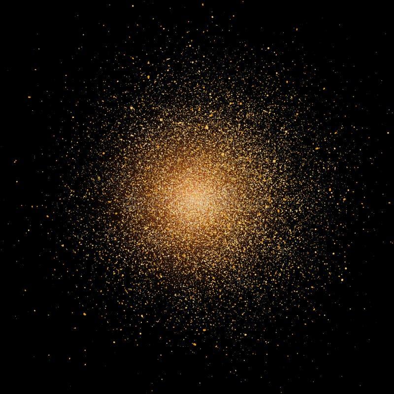 Het effect van de deeltjesexplosie gouden schitter textuur De implosie van de supernovaster royalty-vrije illustratie