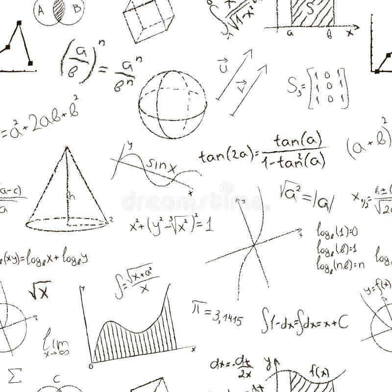 Het effect van de krijttekening Wiskundeformules en grafieken  royalty-vrije illustratie