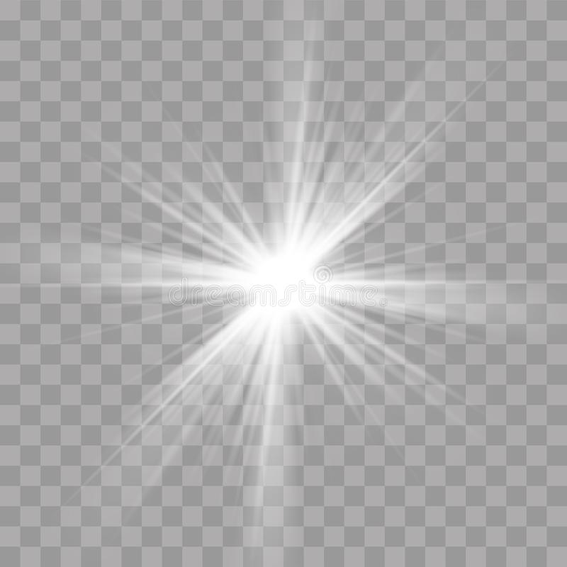 Het effect van de lichte stralenflits van zonster glanst uitstraling vector illustratie