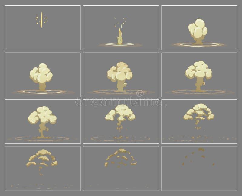 Het effect van de mist verticale explosie speciale animatiekaders vector illustratie