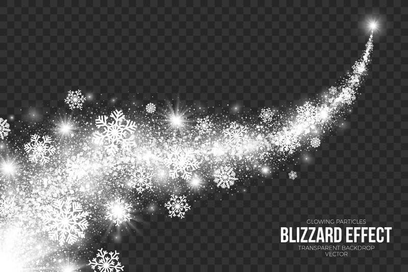 Het Effect van de sneeuwblizzard op Transparante Vector Als achtergrond stock illustratie