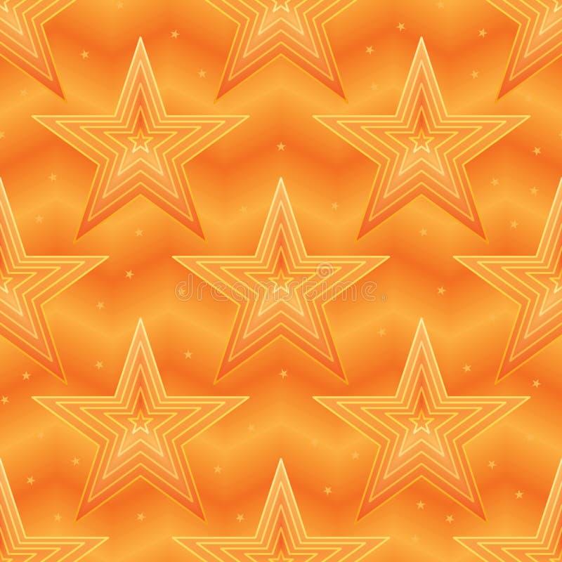 Het effect van de ster oranje Chevron lijn naadloos patroon stock illustratie