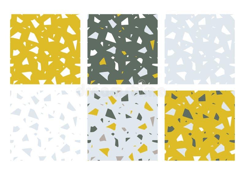 Het effect van de terrazzobevloering, reeks abstracte naadloze patronen De vectordocument besnoeiing handcrafted kleurrijke textu vector illustratie