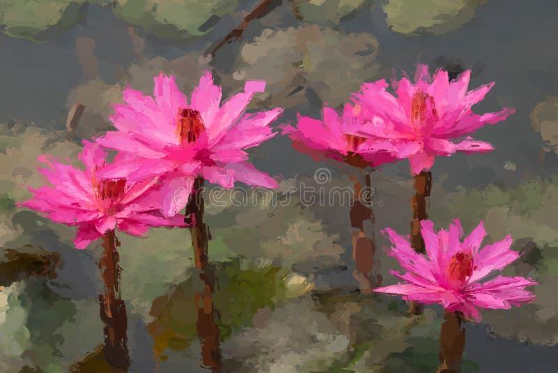 Het effect van het waterlelieolieverfschilderij stock fotografie