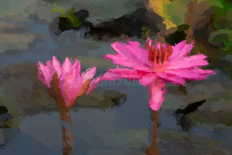 Het effect van het waterlelieolieverfschilderij stock afbeelding