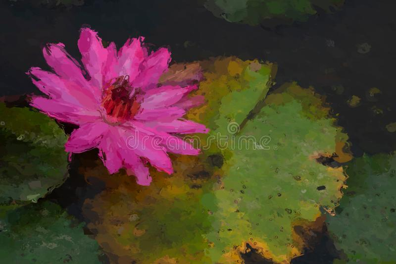 Het effect van het waterlelieolieverfschilderij royalty-vrije stock foto's
