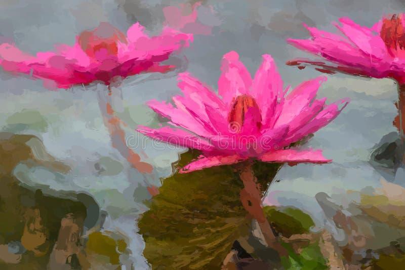 Het effect van het waterlelieolieverfschilderij stock foto's