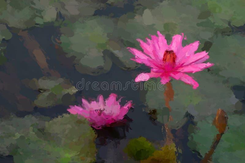 Het effect van het waterlelieolieverfschilderij stock foto