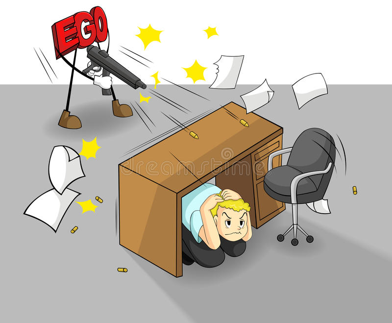 Het ego kan uw werk en succes (vector) vernietigen vector illustratie