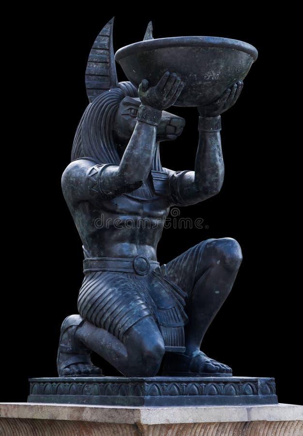 Het Egyptische oude Beeldhouwwerk van kunstanubis stock fotografie