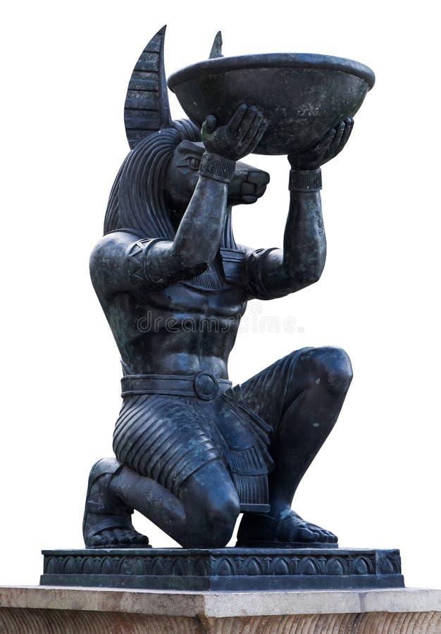 Het Egyptische oude Standbeeld van het het Beeldhouwwerkbeeldje van kunstanubis royalty-vrije stock foto