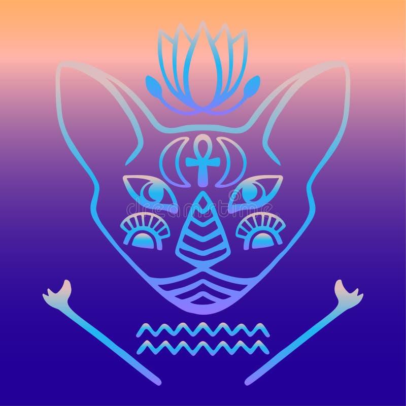 Het Egyptische vector Heilige dier van het kattengezicht van oud Egypte, mystiek kattengezicht met Egyptische hiëroglyfische ca v vector illustratie