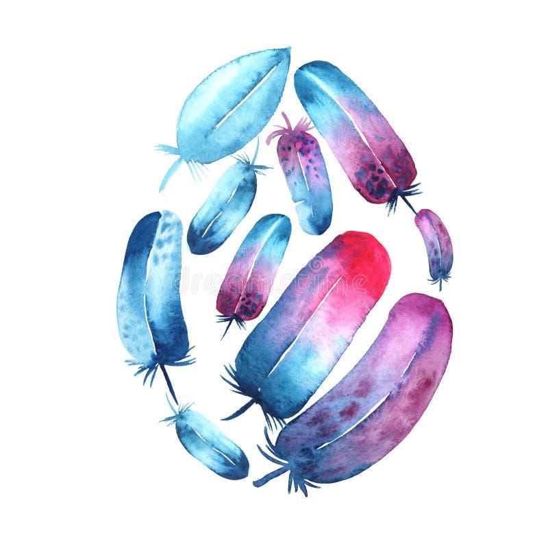 Het ei vormde blauwe en purpere veren Waterverfhand getrokken die illustratie op witte achtergrond wordt ge?soleerd vector illustratie