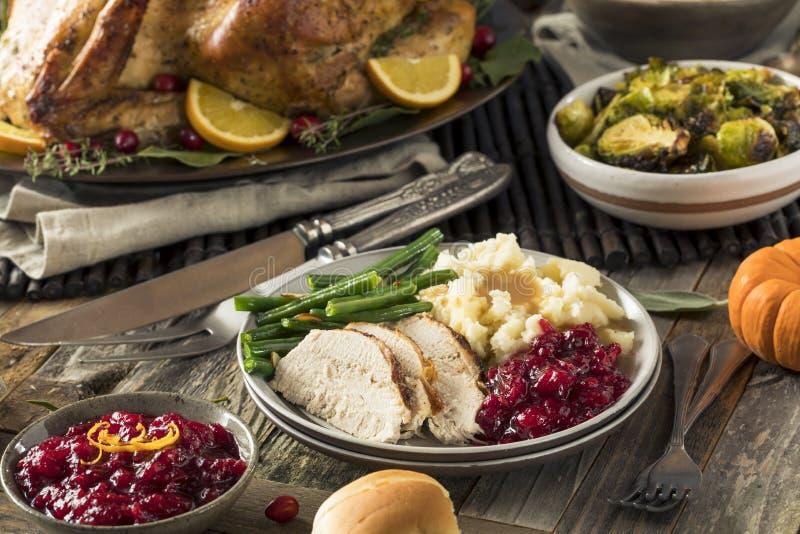 Het eigengemaakte Diner van Dankzeggingsturkije stock fotografie