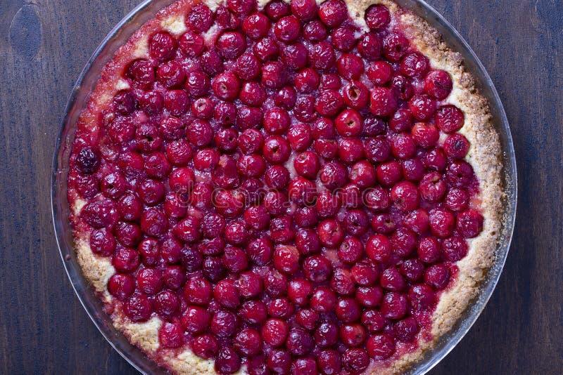 Het eigengemaakte organische dessert van de kersenpastei klaar te eten, om omhoog te sluiten Cherry Tart stock fotografie