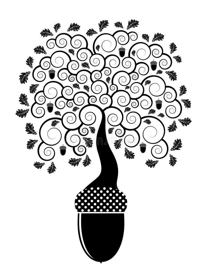 Het eiken boom groeien van eikel royalty-vrije illustratie