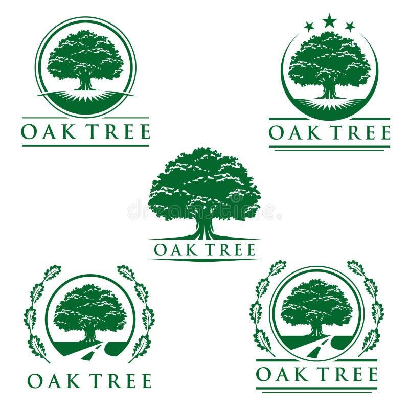Het eiken groene embleem van boomeco, embleemontwerp royalty-vrije illustratie