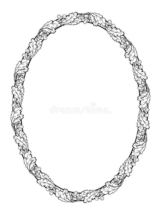 Het eiken zwarte silhouet van het blad ovale kader royalty-vrije illustratie