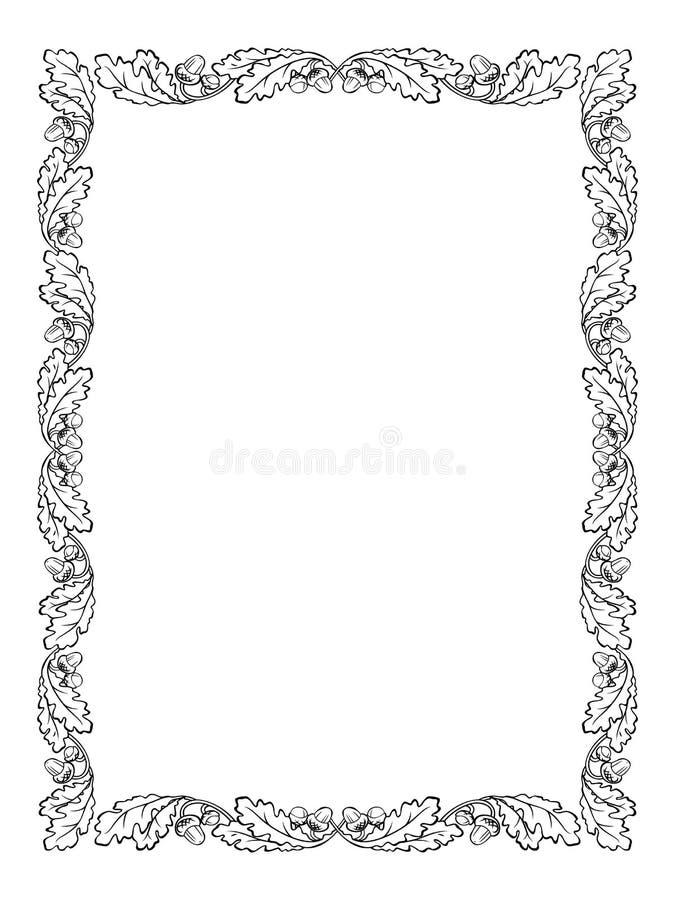 Het eiken zwarte silhouet van het bladkader royalty-vrije illustratie
