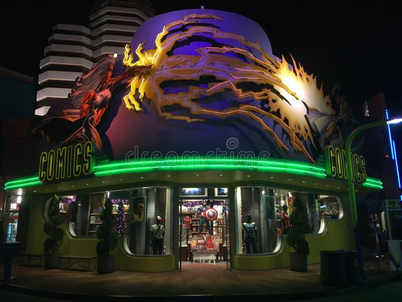 Het Eiland Grappige Boekhandel Universeel Orlando van de wonder Super Held stock afbeeldingen