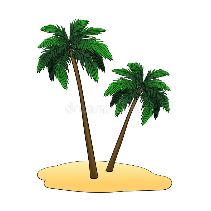 Het eiland met palmen op een witte achtergrond Vector illustratie stock illustratie