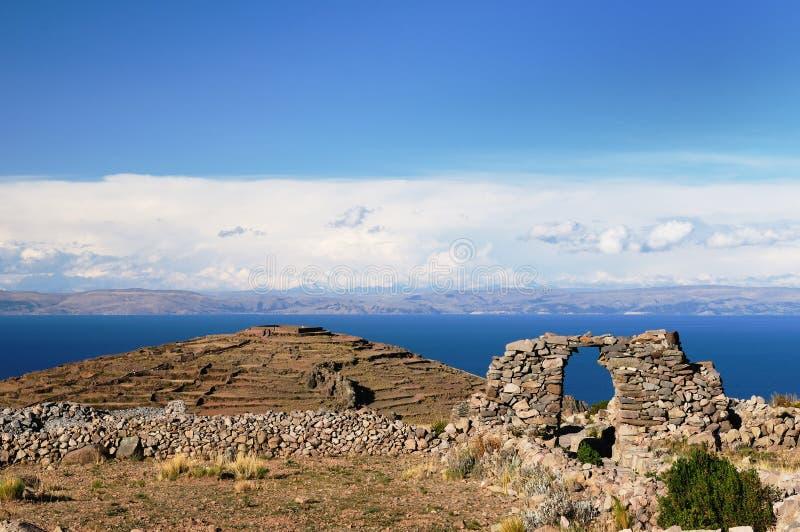 Het eiland van Amantani, Titicaca meer, Peru royalty-vrije stock foto's