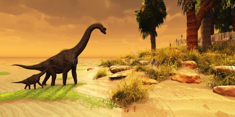 Het Eiland van Brachiosaurus royalty-vrije illustratie