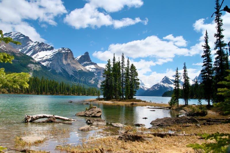Het Eiland van de geest, het Nationale Park van de Jaspis, Alberta stock foto