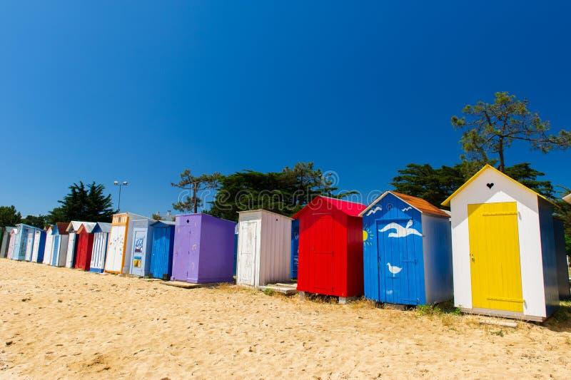 Het eiland van de huttenOleron van het strand stock afbeeldingen