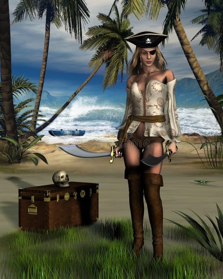 Het Eiland van de piraat royalty-vrije illustratie