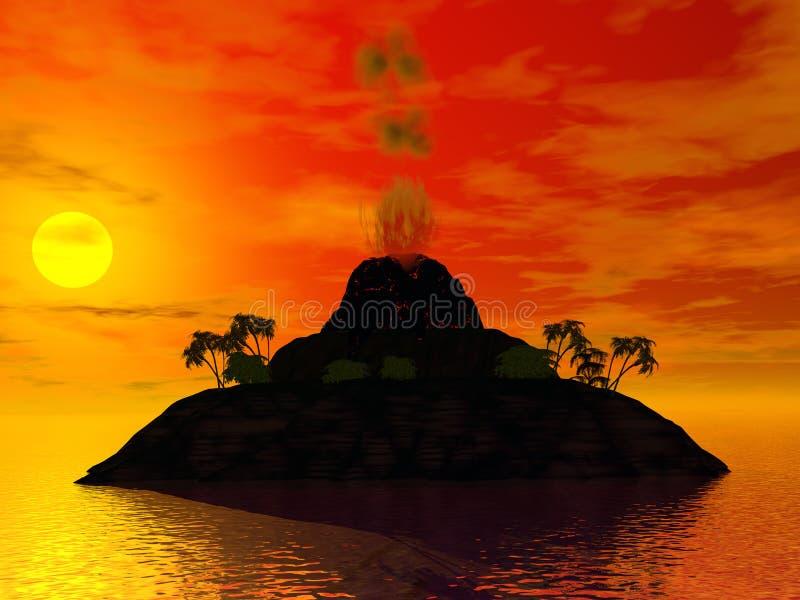 Het eiland van de vulkaan stock illustratie