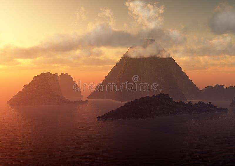 Het eiland van de vulkaan bij zonsondergang stock illustratie