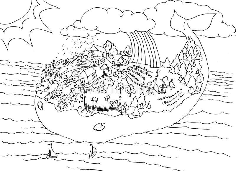 Het eiland van de walvis royalty-vrije illustratie
