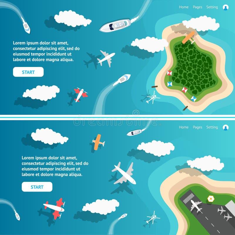 Het Eiland van de zomerparadise in de oceaan voor Websitebanners of Presentatieachtergronden stock illustratie