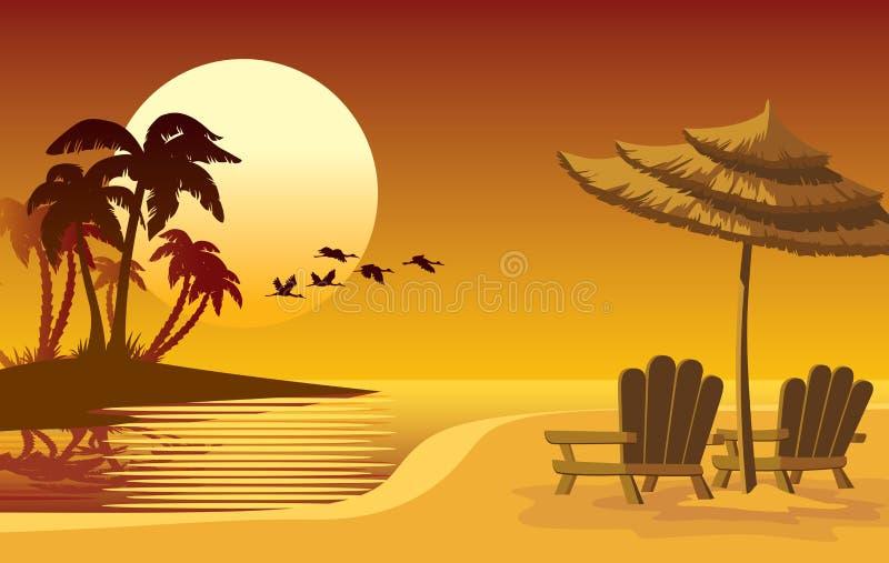 Het eiland van de zonsondergang stock illustratie
