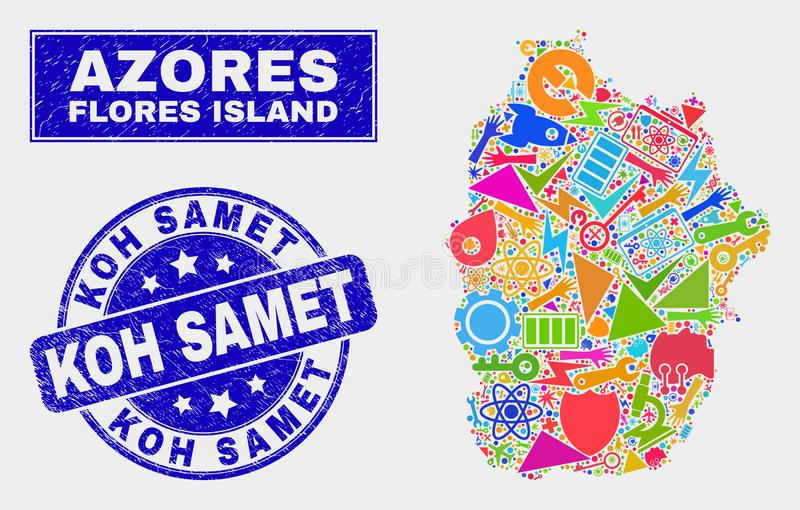 Het Eiland van Flores van de collagetechnologie de Kaart en Grunge Koh Samet Seal van de Azoren royalty-vrije illustratie