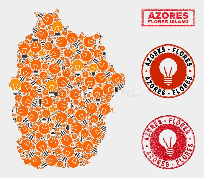 Het Eiland van Flores van het Gloeilampenmozaïek van de Kaart van de Azoren en Rubberverbindingen stock illustratie