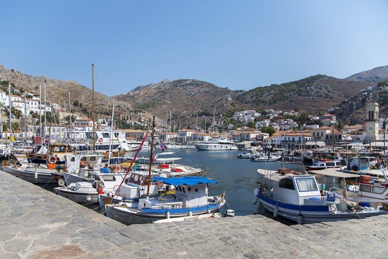 Het Eiland van Hydra in Griekenland stock afbeeldingen