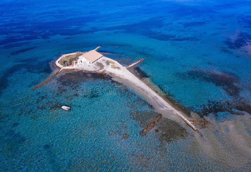Het eiland van Lefkada Agios Nikolaos in de Eilanden van Griekenland Ioanian zoals gezien stock foto