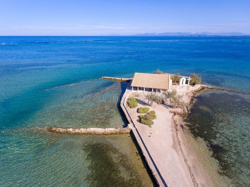 Het eiland van Lefkada Agios Nikolaos in de Eilanden van Griekenland Ioanian zoals gezien stock afbeelding