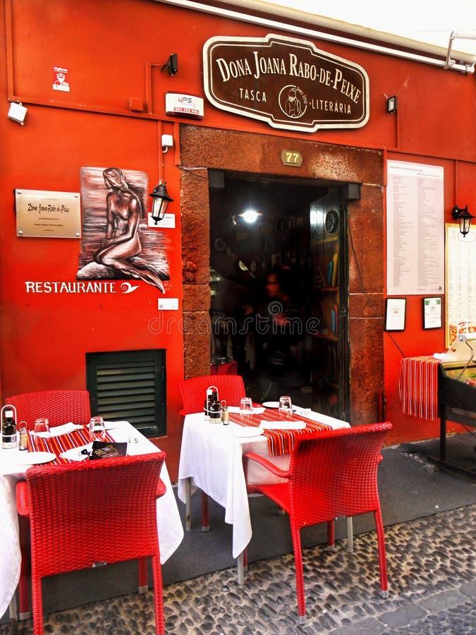 Het Eiland van madera, Funchal, Oud Stadsrestaurant stock fotografie
