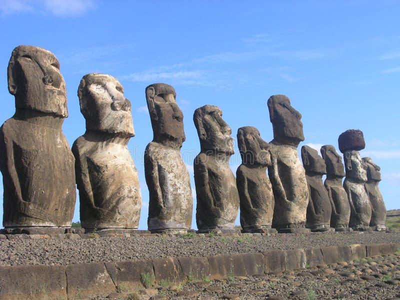 Het Eiland van Pasen - Ahu Tongariki royalty-vrije stock foto's