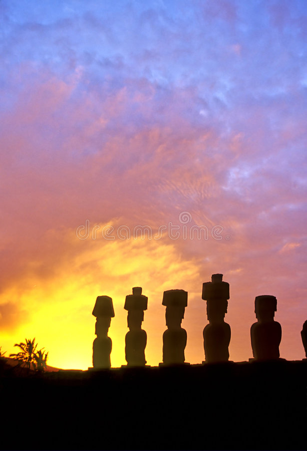 Het Eiland van Pasen van de standbeelden van Moai stock foto's