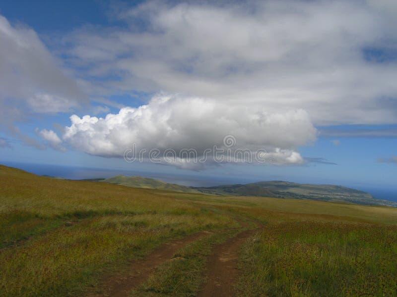 Het Eiland van Pasen - zet Terevaka op stock afbeeldingen