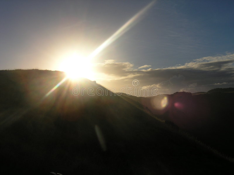 Het Eiland van Pasen - zonsondergang bij Kau Rano vulkaan royalty-vrije stock foto's